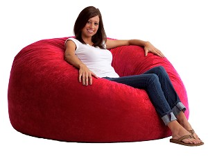 5 Foot King Fuf Bean Bag Chair Comfort Suede Sierra Red