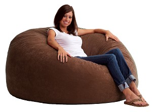 5 Foot King Fuf Bean Bag Chair Comfort Suede Espresso