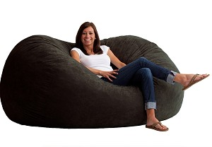 6 Foot XL Fuf Bean Bag Chair Comfort Suede Black Onyx