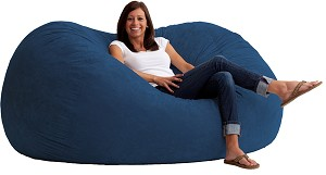 6 Foot XL Fuf Bean Bag Chair Comfort Suede Blue Sky
