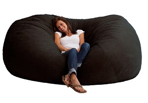 7 Foot XXL Fuf Bean Bag Chair Comfort Suede Black Onyx