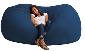 7 Foot XXL Fuf Bean Bag Chair Comfort Suede Blue Sky