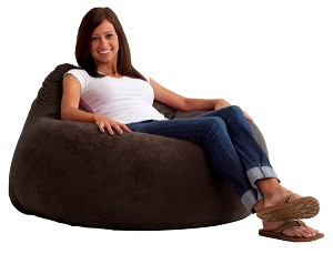 Fuf Chillum Bean Bag Chair Comfort Suede Black Onyx