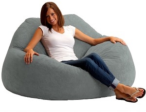 Fuf Chillum Bean Bag Loveseat Comfort Suede Steel Grey