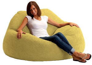 Fuf Chillum Bean Bag Loveseat Comfort Suede Sand Dune