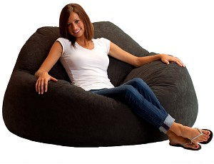 Fuf Chillum Bean Bag Loveseat Comfort Suede Black Onyx