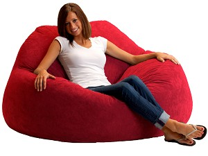 Fuf Chillum Bean Bag Loveseat Comfort Suede Sierra Red
