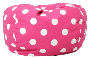 Classic Bean Bag Pink With White Dots