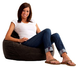Ultra Lounge Bean Bag Comfort Suede Black Onyx