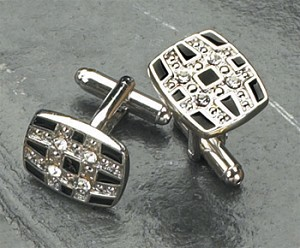 Rodium Plated Cufflinks with Black Enamel and Crystal T.P.