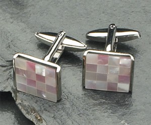 Rodium Plated Cufflinks with Semi Precious Stones T.P.