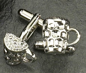 Rodium Plated Cufflinks with Beer Mug T.P.