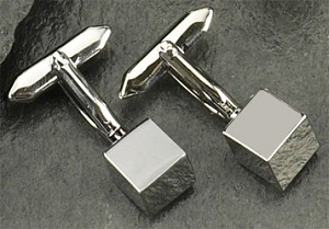 Rodium Plated Cufflinks with Cube T.P.