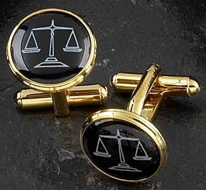 Gold Plated Cufflinks with Scales of Justice Pattern T.P.
