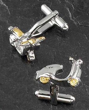 Rodium and Gold Plated Cufflinks with Scooter Pattern T.P.