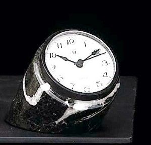 Small Genuine Marble Desk Clock with Black Metal Case T.P.