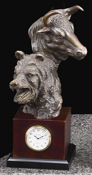 Bull and Bear Bronze Sculpture Desk Clock with Solid Wood Case T.P.