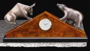 Bull and Bear Triangular Desk Clock with Solid Wood Case T.P.