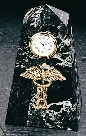 Caduceus Pyramid Tower Desk Clock with Genuine Marble Case T.P.