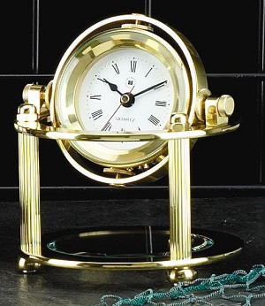 Solid Brass Quartz Gimbal Clock with Beveled Glass T.P.