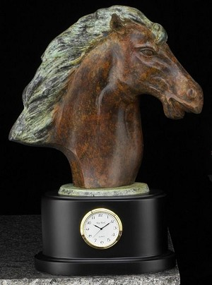 Horse Head Brass Sculpture Desk Clock T.P.