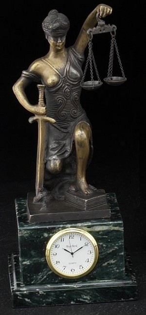 Kneeling Lady Justice Bronze Sculpture Desk Clock with Solid Wood Case T.P.