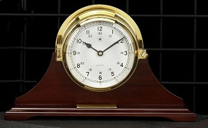 Brass Bell Striking Desk Clock on Mahogany Wood Base T.P.