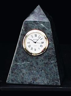 Small Marble Pyramid Tower Desk Clock T.P.