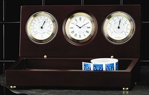 Tall Weathermaster Brass Clock with Thermometer and Hygrometer on Mahogany Base T.P.
