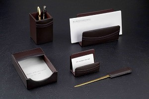 5 Piece Genuine Brown Leather Desk Set T.P.