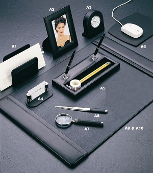 Genuine Black Leather Desk Set