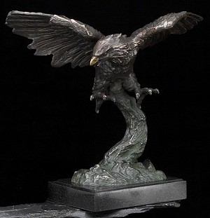 Soaring American Bald Eagle Bronzed Metal Sculpture T.P.