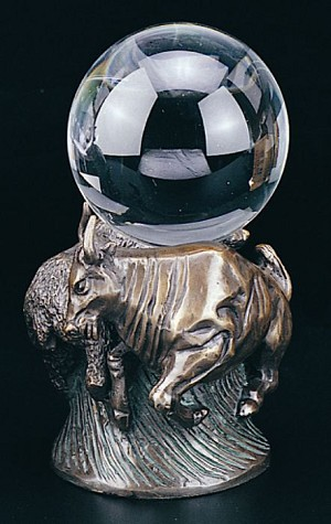 Bull And Bear Fight Crystal Ball Holder Bronzed Metal Sculpture T.P.