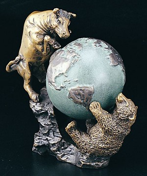 Bull and Bear Fight with World Bronzed Metal Sculpture T.P.