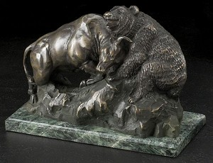 Bull and Bear Fight Bronzed Metal Sculpture on Green Marble Base T.P.