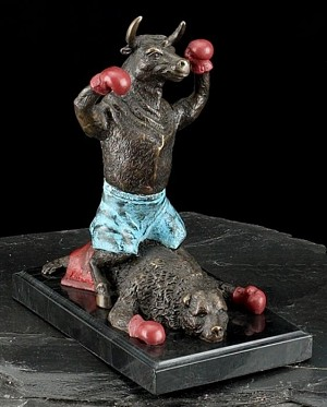 Knock Out Bull and Bear Boxing Fight Sculpture T.P.
