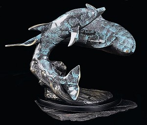 Dolphin Romance Blue Patina Finished Metal Sculpture on Wood Base T.P.