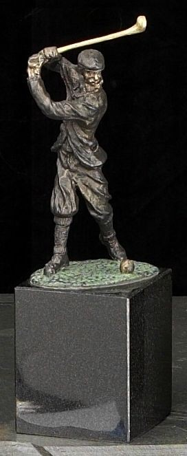 Large Classic Man Golfer Bronzed Metal Sculpture on Marble Base T.P.
