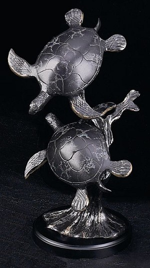 Sea Turtles Bronzed Patina Finished Metal Sculpture on Wood Base T.P.