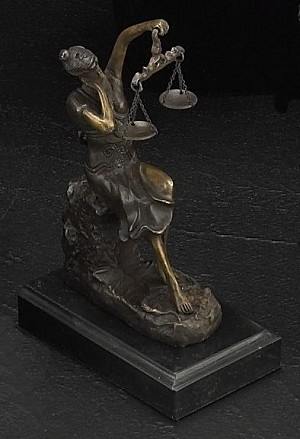 Sleeping Lady Justice Bronze Sculpture on Marble Base T.P.