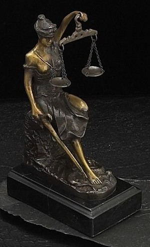 Seated Lady Justice Bronze Sculpture on Marble Base T.P.