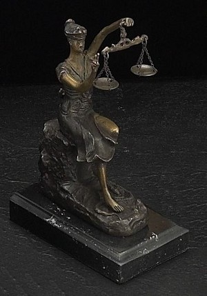 Victorious Lady Justice Bronze Sculpture on Marble Base T.P.