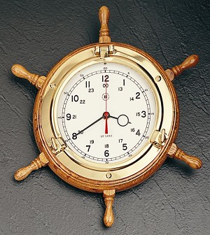 13.5 Inch Brass Oak Ship's Wheel Wall Clock T.P.