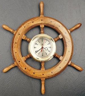 24 Inch Brass Oak Ship's Wheel Wall Clock T.P.