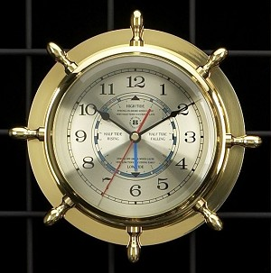 Brass Ship's Wheel Wall Clock and Tide Clock T.P.