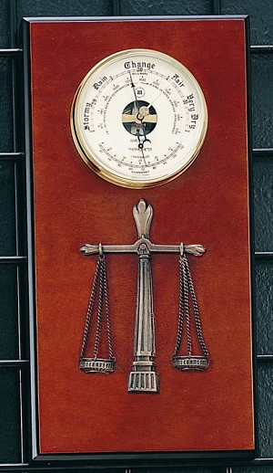 Legal Brass Barometer with Thermometer on Burlwood BaseT.P.