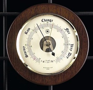 Brass French Barometer on Cherry Wood Base T.P.