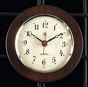 Brass Quartz Wall Clock on Cherry Wood Base T.P.