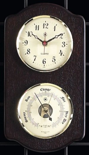 Brass Wall Clock and Barometer on Ash Wood Base T.P.