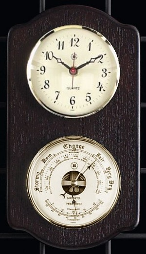 Brass Wall Clock and Barometer Thermometer on Ash Wood Base T.P.